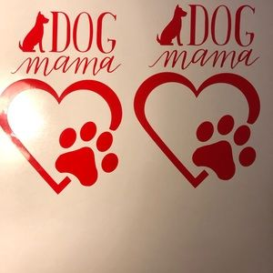 """2 7"""" tall dog mama decal in red"""